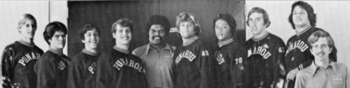 74 Vars Wrestling: (L-R) Bill Thacker, Mike Hopfe, Richard Botkin, Bill Sime, Ken Mayo, Skip Berg, James Kealoha, Heaton Wren, John Tyler, Bob Tam