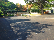 The parking lot in front of the Dillingham tennis courts was repaved.