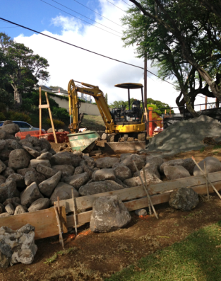 The Punahou Street wall was repaired. (NO night blooming cereus were destroyed in this effort!)