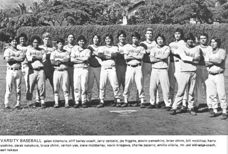1974 Punahou Varsity Baseball Team