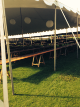 Tables set up in the Alumni Luau tent.