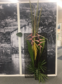 Babs Miyano Young's floral arrangement at the archives display.